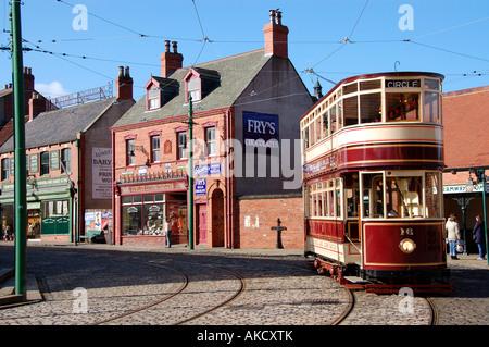 Tram at Beamish Open Air Museum, Durham, UK - Stock Photo