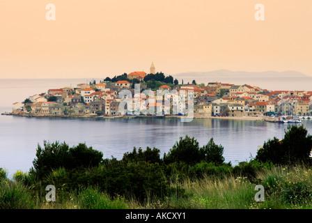 South-East Europe, Croatia, Dalmatia, Primosten town, view from headland - Stock Photo