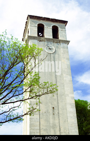 Croatia, Istria, Pula, cathedral church tower, low angle view - Stock Photo