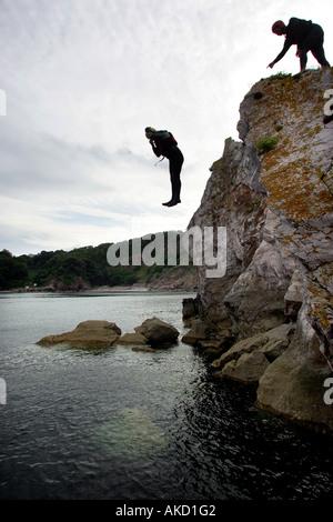 Coasteering in Torbay Devon England UK - Stock Photo