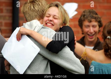 Pupils at Colyton Grammar School in Devon UK receive their A level results - Stock Photo