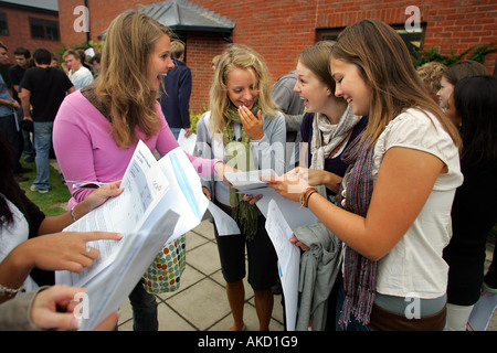 Pupils at Colyton Grammar School in Devon UK receive their A level results - Stock Photo