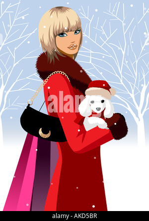 Side profile of a woman carrying a poodle - Stock Photo