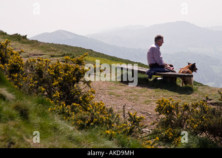 Man with his dog admiring the view from a quiet spot at Worcestershire Beacon Malvern Hills Worcestershire England - Stock Photo