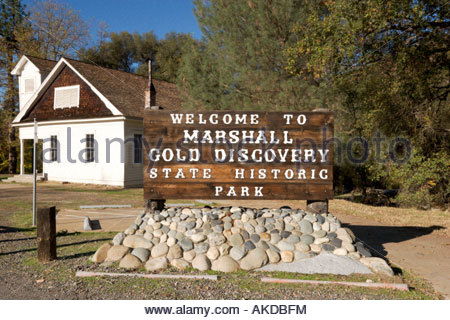Coloma Schoolhouse at Marshall Gold Discovery SHP California - Stock Photo