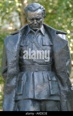 Statue of Josip Broz Tito standing in the grounds of the now destroyed Tito Barracks Sarajevo Bosnia Herzegovina - Stock Photo