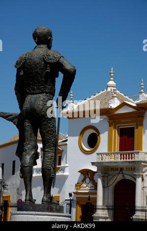 Statue outside Plaza de Toros de la Real Maestranza de Caballeria de Sevilla, Spain's oldest bullring arena, Seville, - Stock Photo