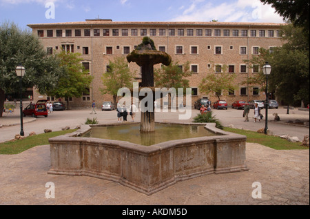 Water fountain outside Lluc Monastery Majorca which was founded in the 13th century - Stock Photo