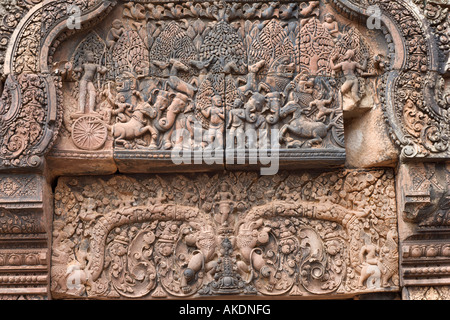 Detail of Hindu architectural carving Banteay Srei Angkor Cambodia - Stock Photo