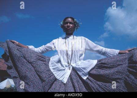 Republic of Panama woman in traditional peasant dress folkloric dress Pollera montuna - Stock Photo