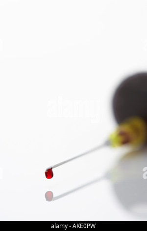 Blood droplet on syringe, close-up - Stock Photo