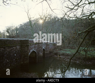 Cotehele Bridge has indelible blood stains reminder of an ancient murder River Tamar Cornwall - Stock Photo