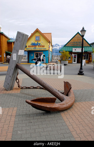 Memorial Anchor dedicated to those who lost their lives in earthquake March 27 1964 Seward Alaska AK U S United - Stock Photo
