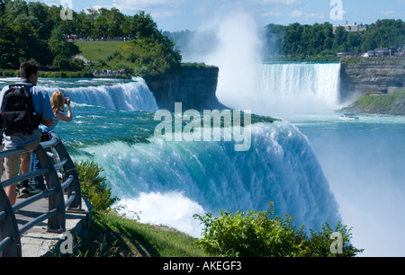 Stock Photo of Tourists Enjoying View of Niagara Falls USA side - Stock Photo
