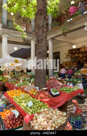 Fresh produce stalls in the Mercado dos Lavradores (Workers Market), Funchal, Madeira, Portugal - Stock Photo