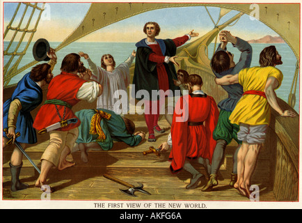 First view of the New World by Christopher Columbus and his crew aboard the Santa Maria 1492. Color lithograph - Stock Photo
