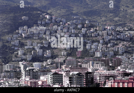 Alanya in Turkey aerial view over the city showing solar panels heating and satellite dishes - Stock Photo
