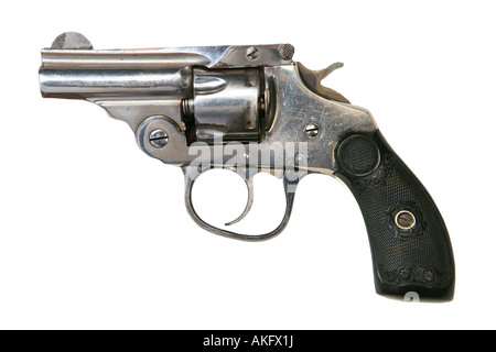 Vintage 32 caliber pistol isolated on white background - Stock Photo