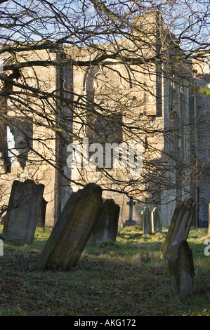 Graveyard at Easby Abbey near Richmond, North Yorkshire, England, UK - Stock Photo