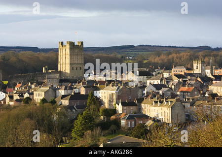 Richmond Castle and historic town, North Yorkshire, England, UK - Stock Photo