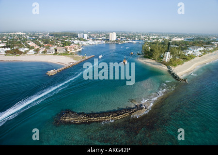 Aerial view of Hillsboro Bay in Pompano Beach Flordia - Stock Photo