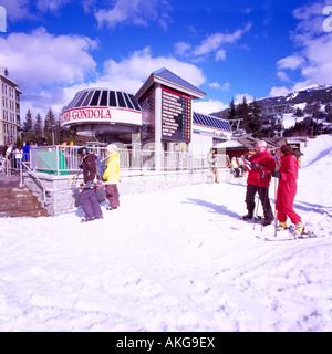 The Excalibur Gondola Ride to Blackcomb Mountain in the Ski Resort Village of Whistler British Columbia Canada - Stock Photo
