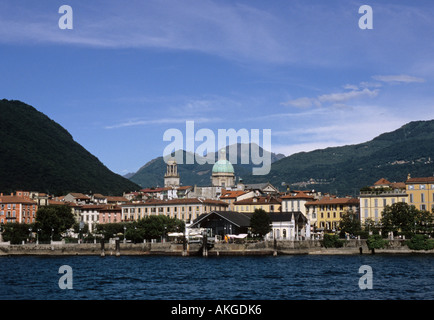 the town of Intra on the Lake Maggiore Verbania Piemonte Italy - Stock Photo