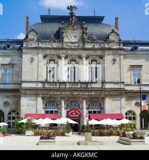 Opera house, Grand Café du Théatre terrace, theatre, Place de la Liberté square, Lons-le-Saunier, Jura, Franche - Stock Photo
