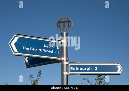 Signpost at Slateford Aqueduct on Union Canal Edinburgh Scotland - Stock Photo