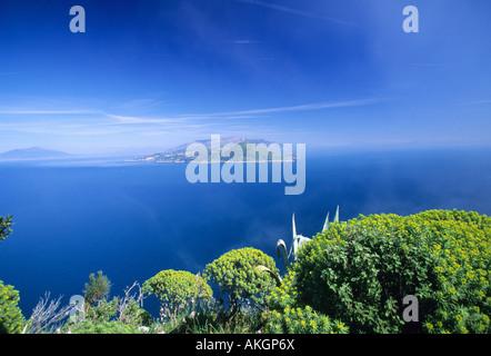 Landscape on Sorrentina peninsula and Vesuvio volcano, Salto di Tiberio, Villa Jovis, Capri island, Campania, Italy - Stock Photo