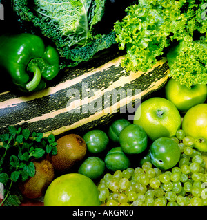 various vegetables and fruits for diet - Stock Photo