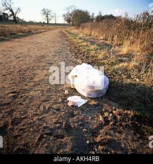 Rubbish left by a path - Stock Photo