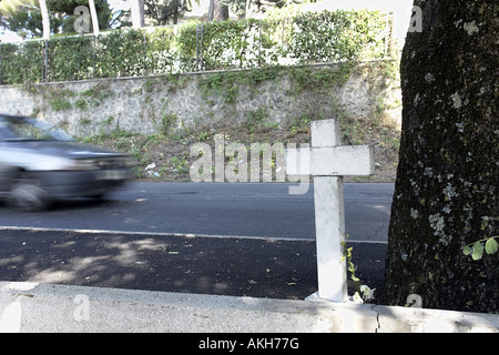 Roadside cross tribute to honour young man killed in road traffic accident in Castel Gandolfo Italy - Stock Photo