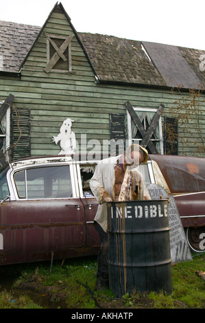 Haunted House with Man Vomiting at Topsfield Fair Topsfield Massachusetts - Stock Photo