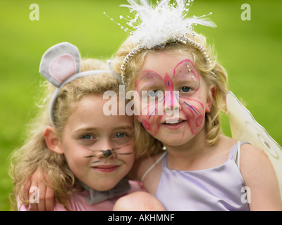 Girls in fancy dress - Stock Photo