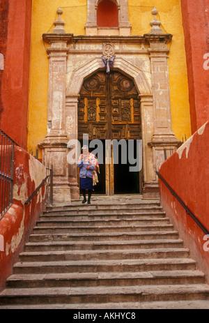 1, one, Mexican woman, San Roque Church, Templo de San Roque,   Roman Catholic Church, Roman Catholicism, Guanajuato, - Stock Photo