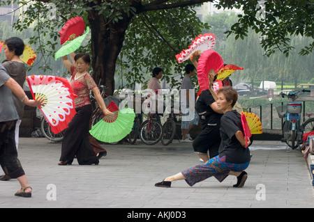 People practice Tai Chi along the Beijing-Hangzhou Gran Canal Stock