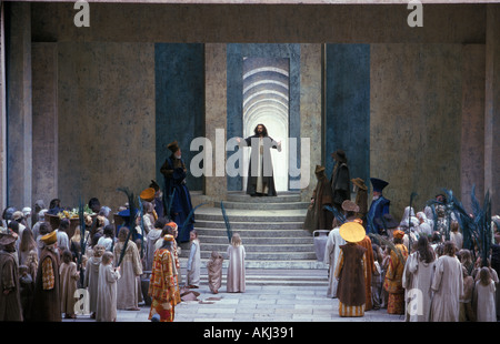 Passion Play Christ prayer in temple Oberammergau Upper Bavaria Germany - Stock Photo