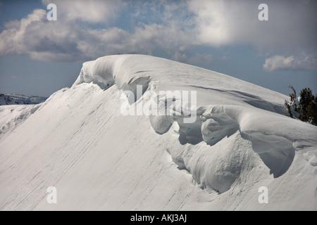 Aerial of snowcapped mountain peak in Crystal Mountains California USA - Stock Photo