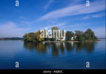 Frauenchiemsee Lake Chiemsee Upper Bavaria Germany - Stock Photo
