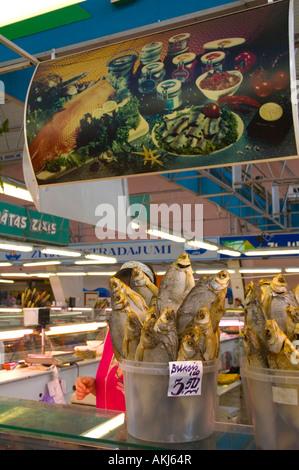 Fish stall centraltirgus indoor central market Riga Latvia EU - Stock Photo