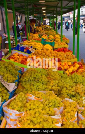 Fruit stalls centraltirgus outdoor central market Riga Latvia EU - Stock Photo