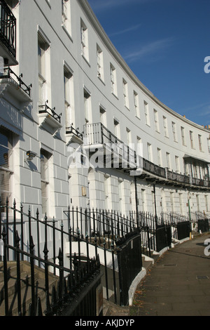 Royal Crescent terraced buildings in Cheltenham, Cotswolds, Gloucestershire U.K. - Stock Photo