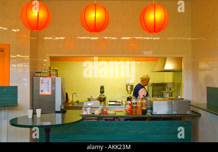 Snack kiosk centraltirgus indoor central market Riga Latvia EU - Stock Photo
