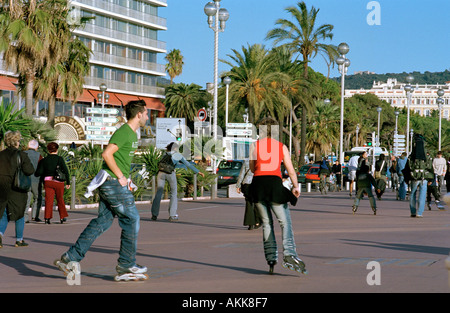 Nice Cote d'Azur France - Rollerblading on the Promenade des Anglais, French Riviera - Stock Photo