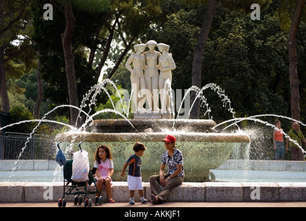 At the fountain sculpture of the 3 graces in the Jardin de Albert 1, beside the Promenade des Anglais, Nice , French - Stock Photo