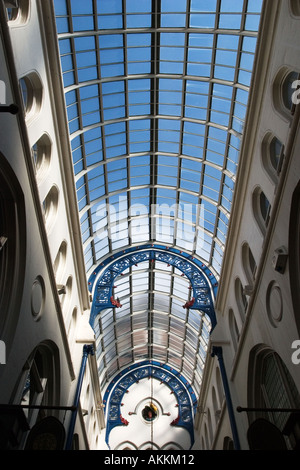 Blue Sky through the Glass Roof over Thorntons Arcade in The Victoria Quarter Leeds West Yorkshire England - Stock Photo