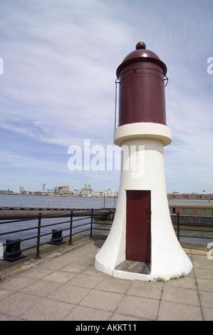 Light House River Mersey Liverpool England UK United Kingdom - Stock Photo