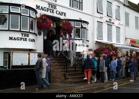 Whitby North Yokshire England UK Europe the famous Magpie Cafe on Quayside - Stock Photo