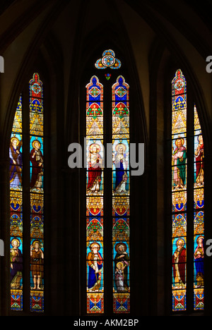 Gothic Stained Glass Windows in Spanish Church of San Severino, Balmaseda, The Basque Country, Spain - Stock Photo